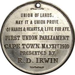 SA Union: King Edward VII / First Union Parliament, Presented by R.D. Irwin, Cape Town