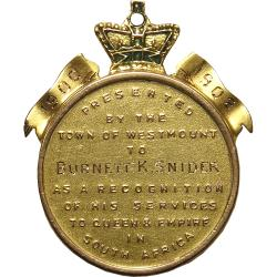 Canada: Boer War: Town of Westmount Gold Tribute Medal