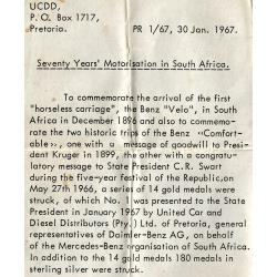 "RSA (Pre-1994): Mercedes-Benz ""Seventy Years' Motorisation in South Africa"""